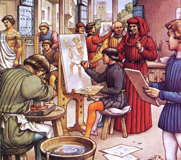 Lorenzo de Medici visiting the school he set up for artists