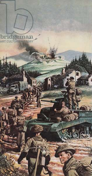 The Battle of Monte Cassino (colour litho)