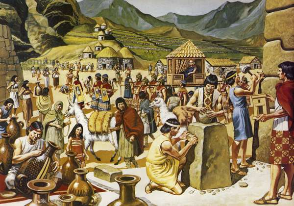 Everyday life in an Inca community (colour litho)
