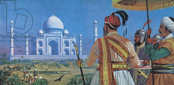 Shan Jahan watching the Taj Mahal being built (colour litho)