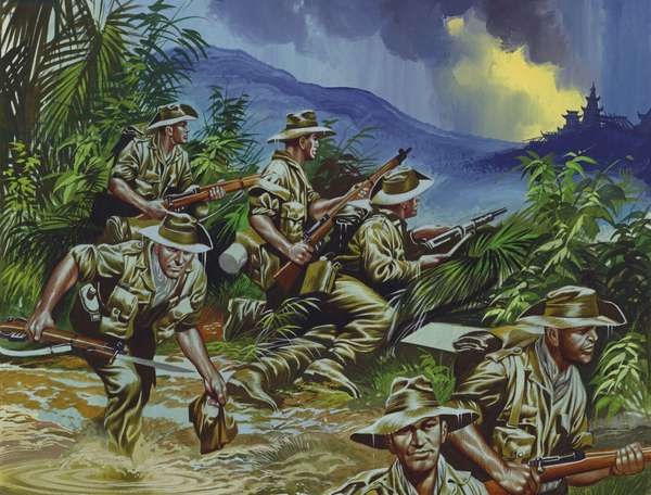 British soldiers in South East Asia, WW2 (gouache on paper)