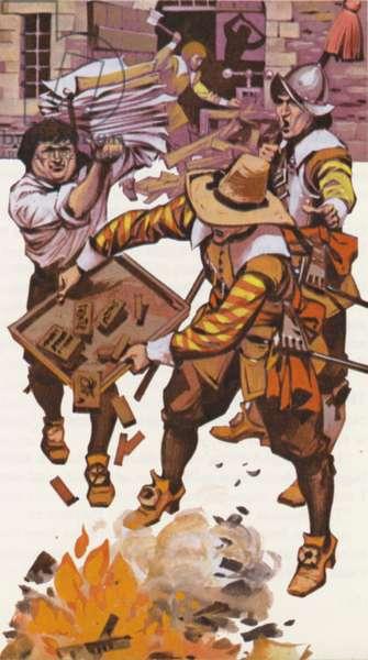 Oliver Cromwell's censorship (colour litho)