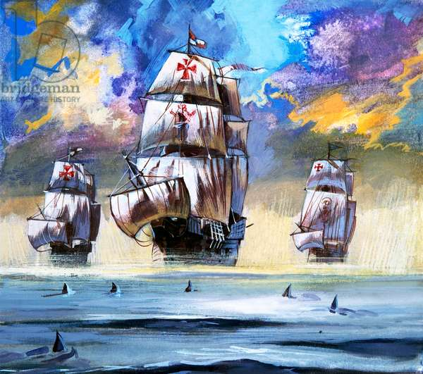 Christopher Columbus's fleet (gouache on paper)