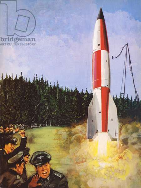 Launch of German rocket in WW2 (colour litho)