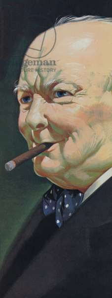 Winston Churchill (colour litho)