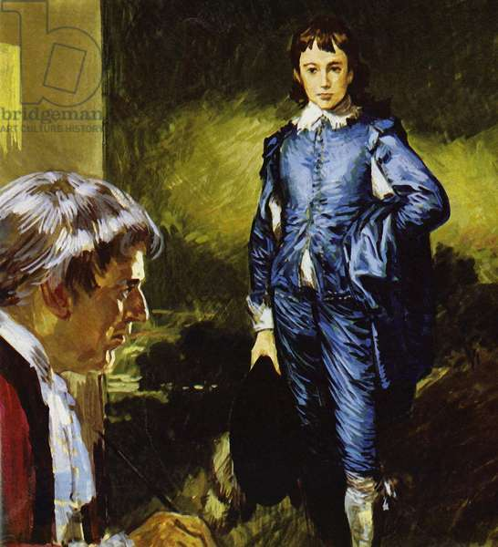 Gainsborough painting his famous portrait Blue Boy (colour litho)