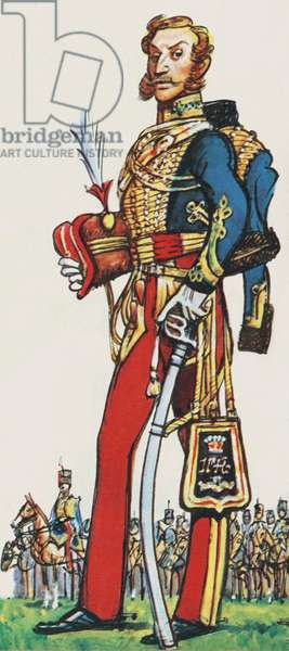 Lord Cardigan, Commander in Chief of the 11th Hussars (colour litho)