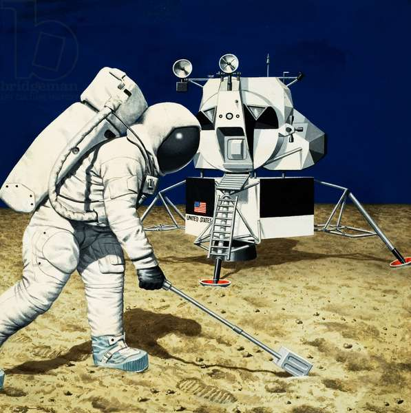 Neil Armstrong landing on the Moon (gouache on paper)