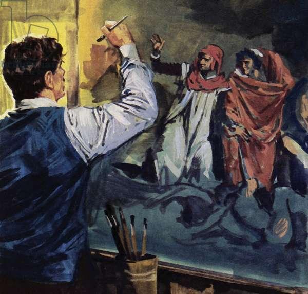 "Eugene Delacroix painting ""Dante and Virgil"" (colour litho)"