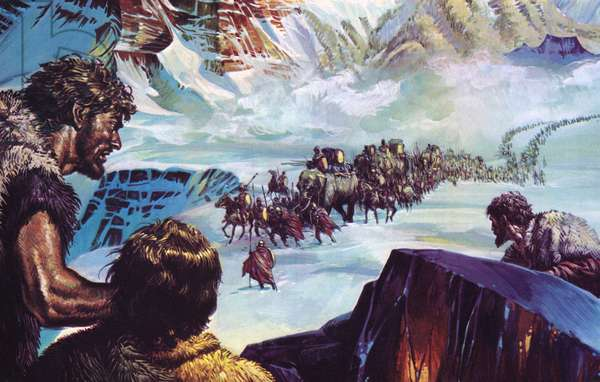 Hannibal crossing the Alps (colour litho)