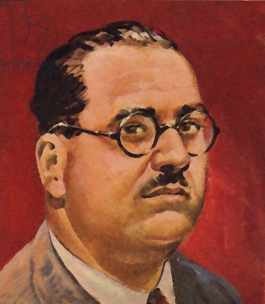 Juan Negrin, scientist and politician, who opposed General Franco in the Spanish Civil War (colour litho)