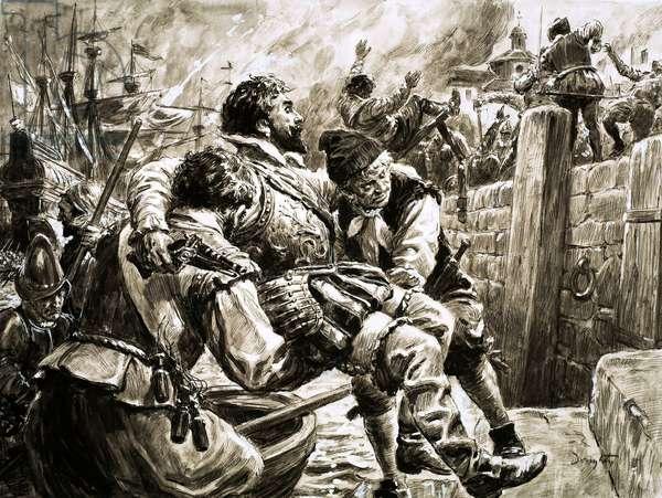 Sir Walter Raleigh at Cadiz (gouache on paper)