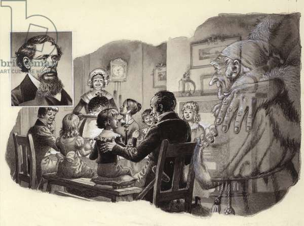 A Christmas Carol by Charles Dickens (gouache on paper)