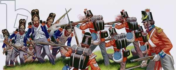 The Battle Of Waterloo (gouache on paper)