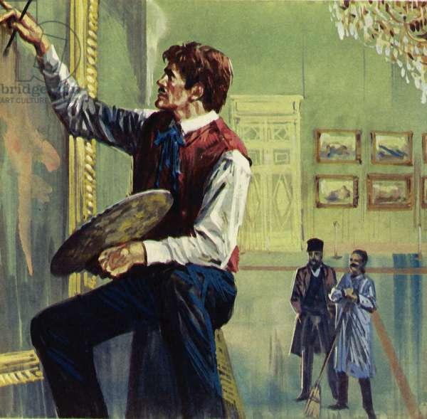 Delacroix working on his canvas at the Paris Salon (colour litho)