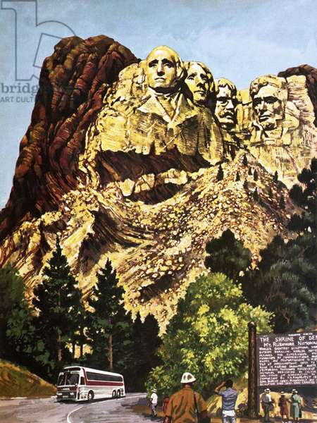 The Mount Rushmore National Memorial, depicted in 1978