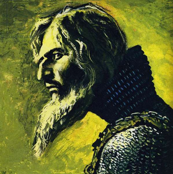 Chaliapin performed as Ivan the Terrible (colour litho)