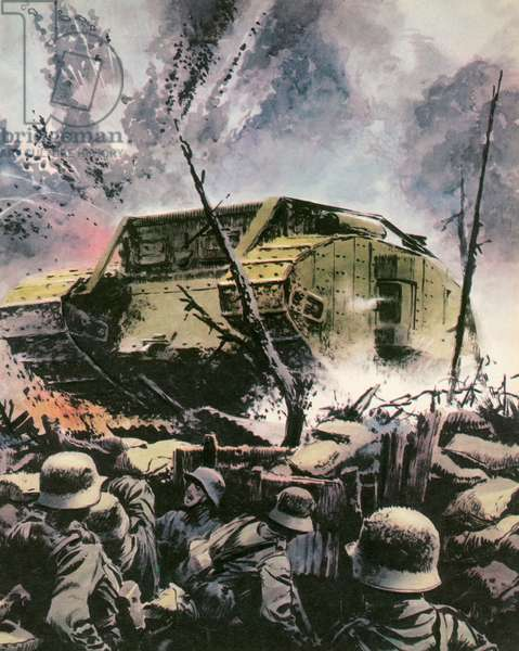 On the Somme, Britain's new armoured weapon, the tank, was a fiasco (colour litho)