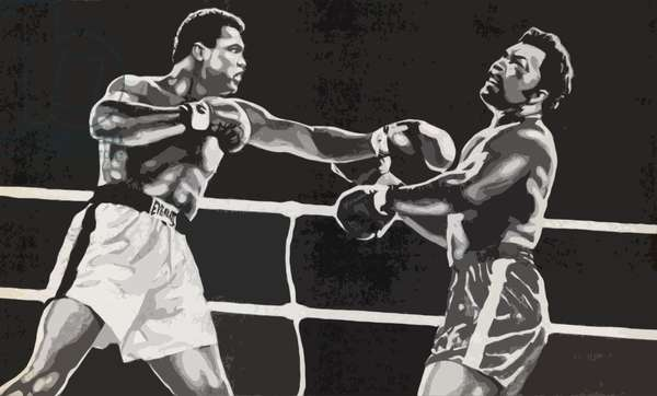 Muhammad Ali defeating George Foreman (litho)