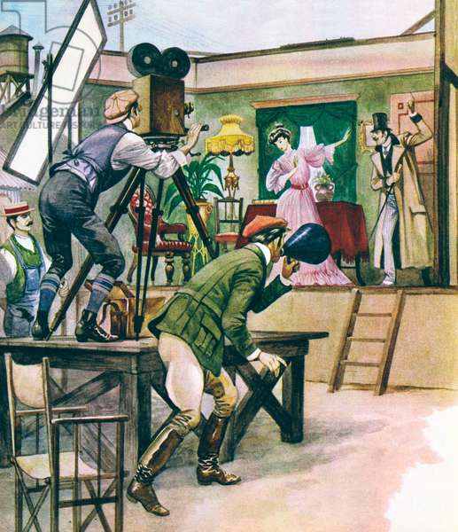 An early film being made (colour litho)