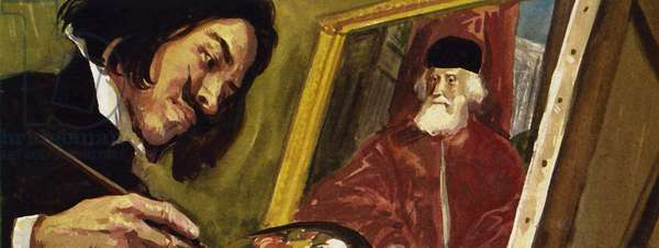 The French artist Gericault owed a debt to the craft of Tintoretto (colour litho)