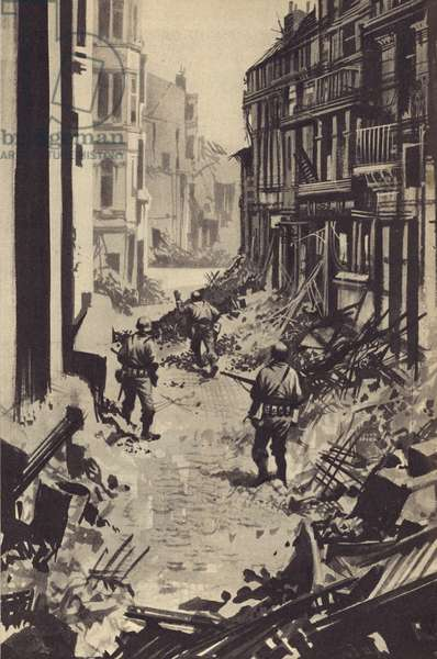 Through the ruins of Berlin the Russian troops pressed on towards Hitler's bunker (litho)