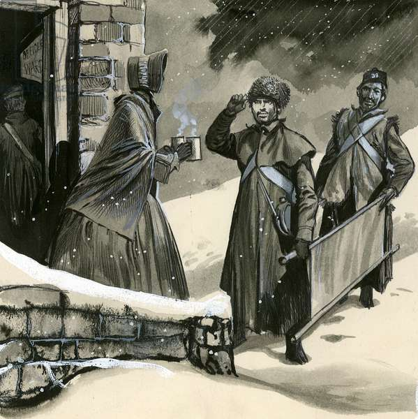 Florence Nightingale greeting soldiers in the snow