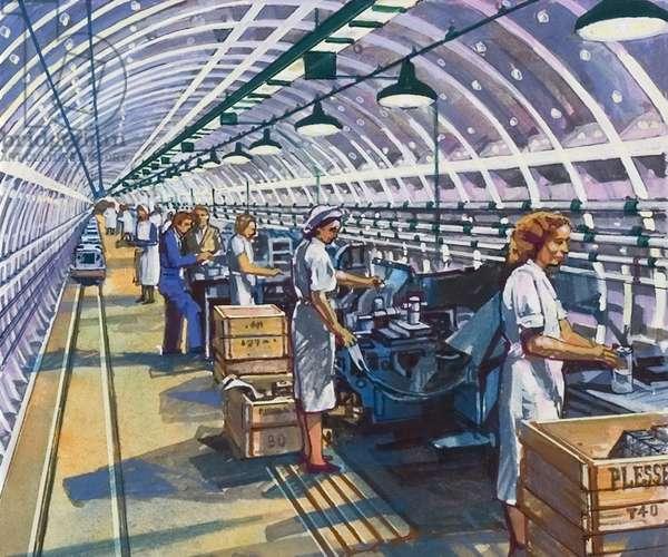 London Underground factory during WW2