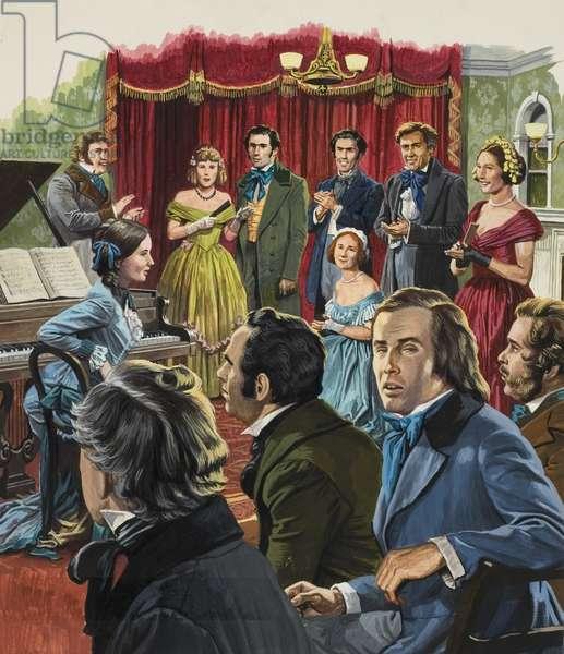 Robert Schumann (1810-1856) at a recital of his work (gouache on paper)