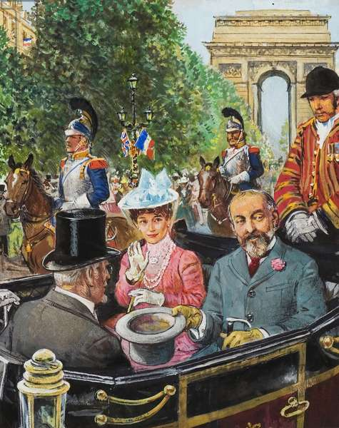 Edward VII being coolly received by the Parisians