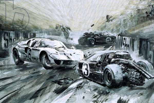 The Le Mans race in 1967 (gouache on paper)