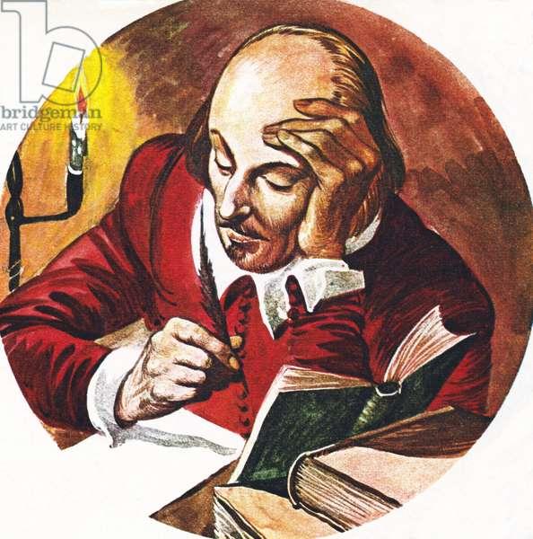 William Shakespeare, writing (colour litho)