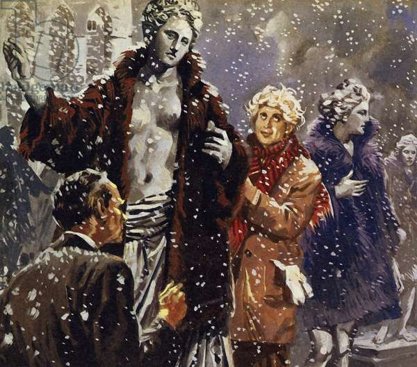 As a joke, Harpo dressed statues in fur coats when he saw it was snowing (colour litho)