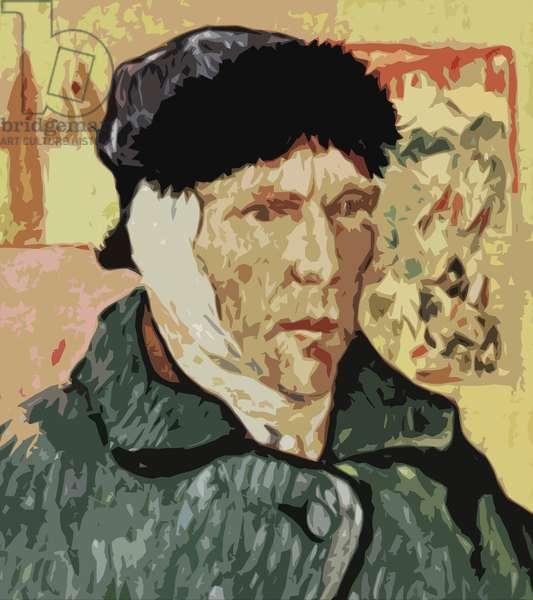 Vincent Van Gogh, with bandaged ear (colour litho)