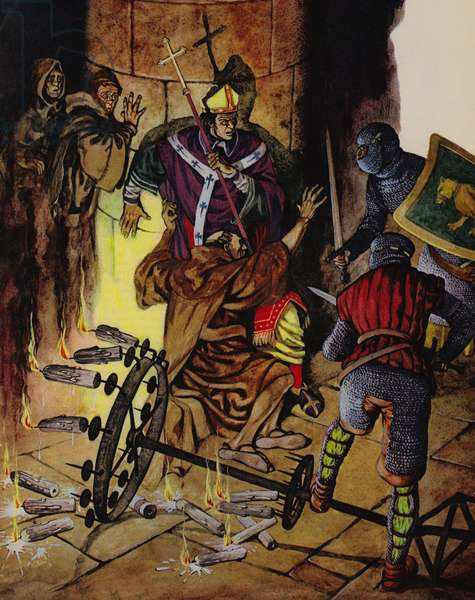 The murder of Thomas a Becket in Canterbury Cathedral (colour litho)
