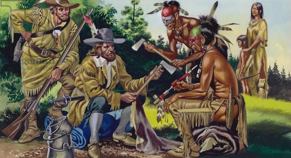 The French in Canada, trading for fur with the native Indians (gouache on paper)