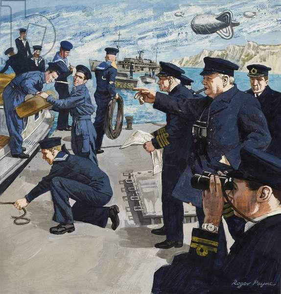 Winston Churchill (1874-1965) in Naval Scene (gouache on paper)