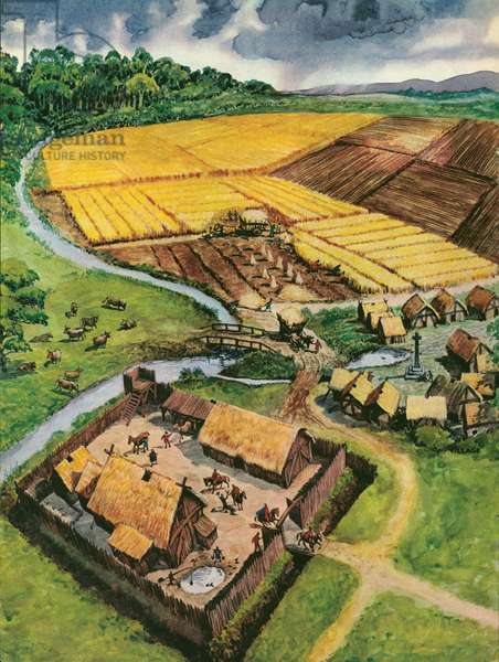 Medieval agriculture (colour litho)