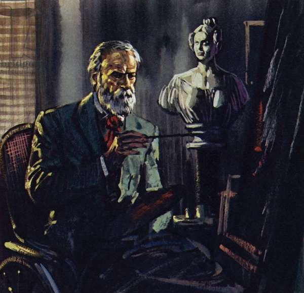 Renoir was confined to a bath chair through rheumatism (colour litho)