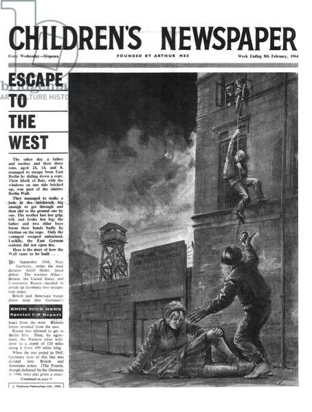 The Berlin Wall, front page of 'The Children's Newspaper', February 1964 (newsprint)