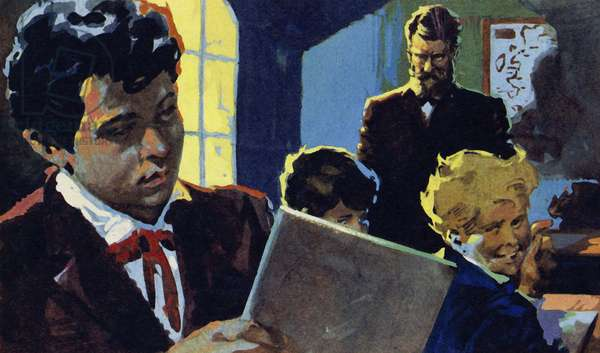 Alexander was taught by his stern grandfather and became interested in speech (colour litho)