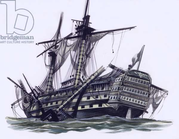 HMS Victory after the Battle Of Trafalgar, with mizzen topmast shot away (gouache on paper)