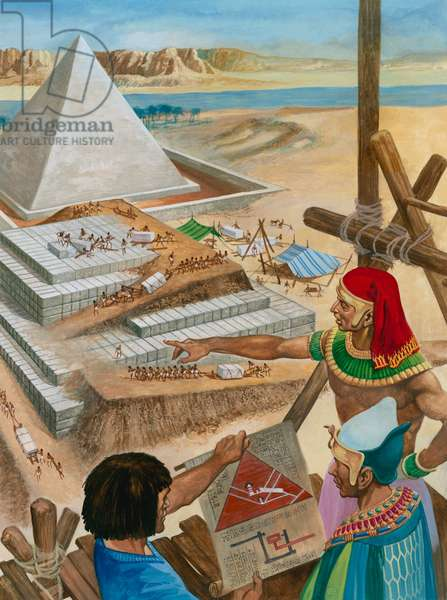Building the pyramids (gouache on paper)