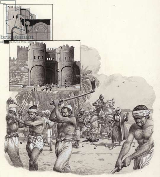 Work on the first walls of Cairo began in 969AD (gouache on paper)