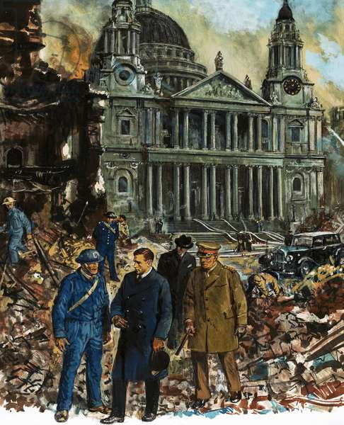 King George VI inspects the wreckage outside St Paul's Cathedral