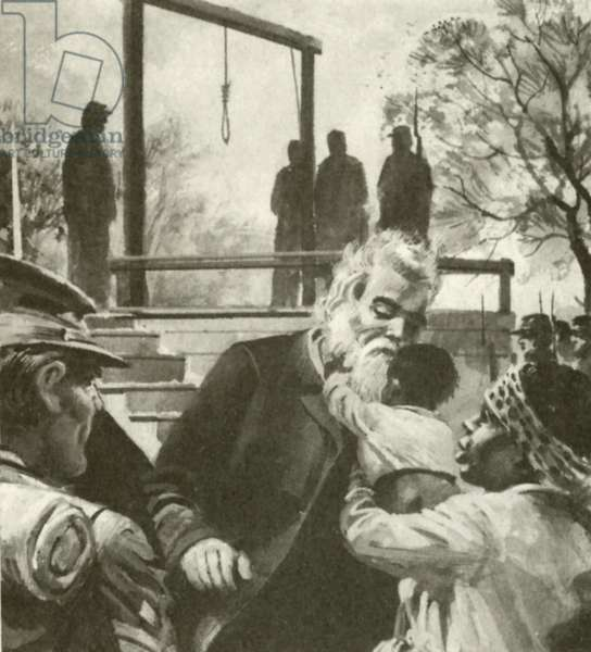 John Brown on the way to the gallows stopped to kiss a negro child (litho)
