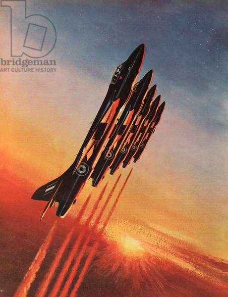 Hawker Hunter F6, The Black Arrows (colour litho)