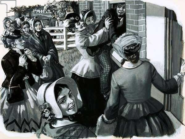 In 1848 Elizabeth Cady Stanton organised a suffragette meeting in New York (gouache on paper)