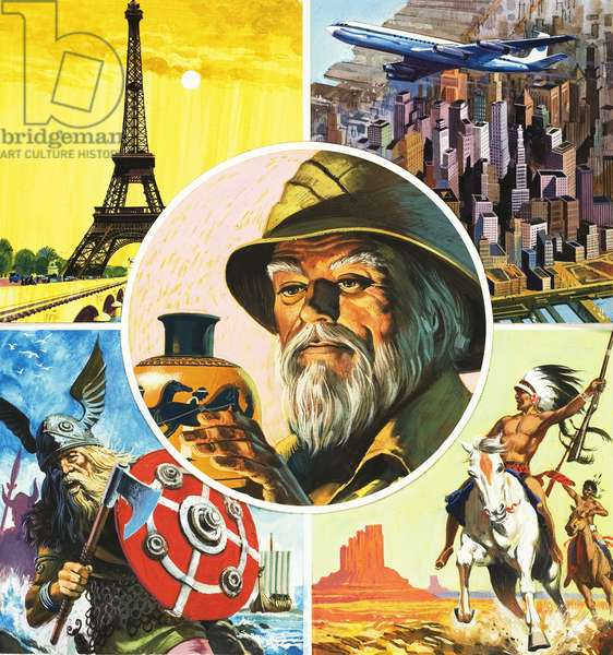 Montage including Eiffel Tower, aeroplane, Viking warrior, Indian and archaeologist