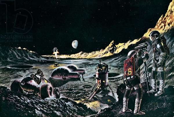 Man on the moon, as imagined in 1965 (colour litho)